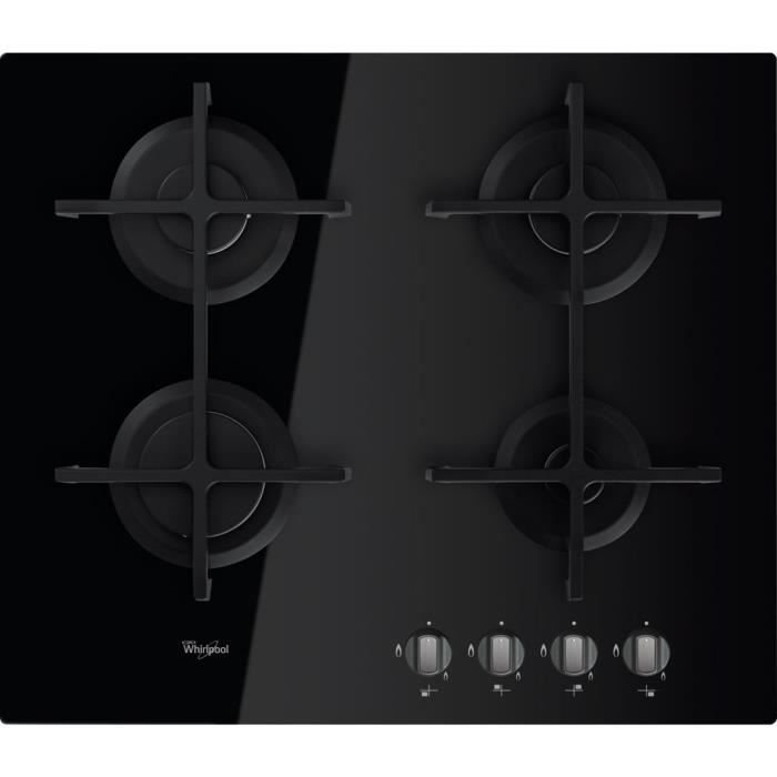Whirlpool AKT 6420-NB, Intégré, Cuisinière à gaz, En fonte, Noir, Fonte, Rotatif