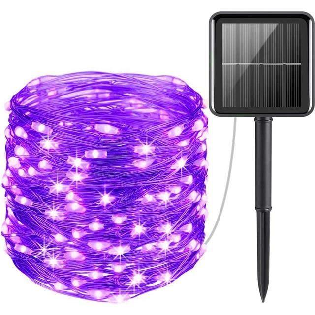 Purple-11m 100leds -Guirlande solaire LED,fil lumineux de 10m comportant 100 ou 200 lampes étanches avec panneau photovoltaïque,po