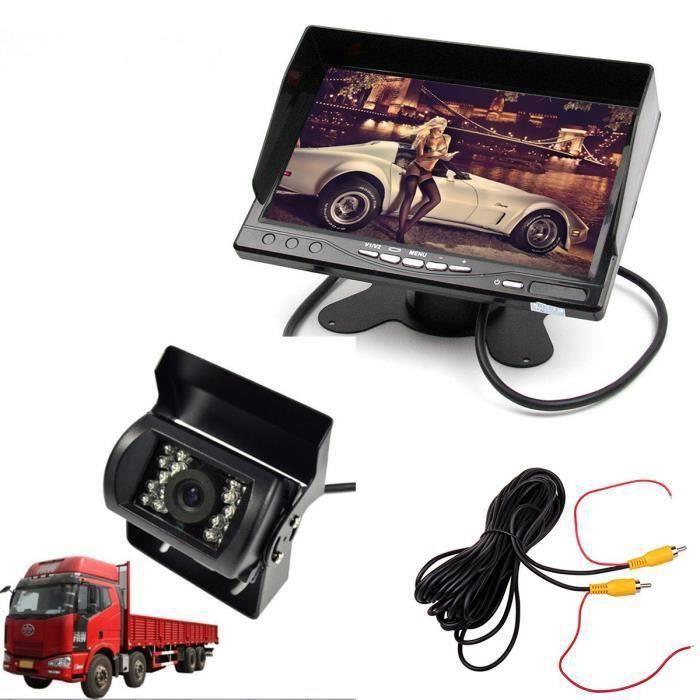 CW13208-7 12-24V Tiret Support LCD Moniteur Ecran + Camion Caméra de Recul 10m Câble d'extension Vidéo