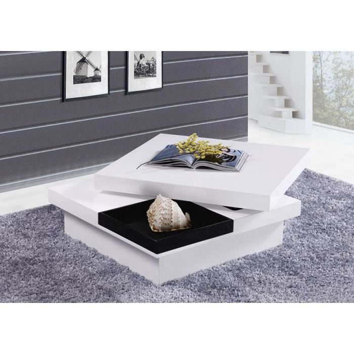 table basse carr e turin laqu e plateau pivotant achat. Black Bedroom Furniture Sets. Home Design Ideas