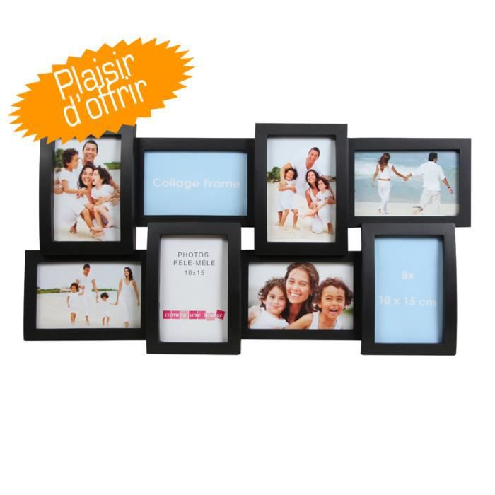 cadre photo multivues noir pour 8 photos 10x15 cm achat vente plaque de porte lettre. Black Bedroom Furniture Sets. Home Design Ideas