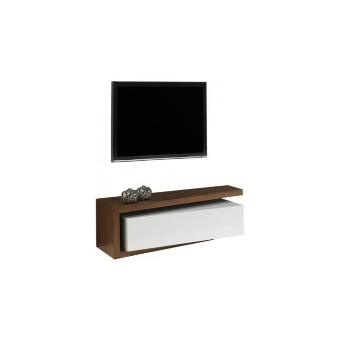 banc tv design laque et noyer 1 tiroir achat vente meuble tv banc tv design laque et noy. Black Bedroom Furniture Sets. Home Design Ideas