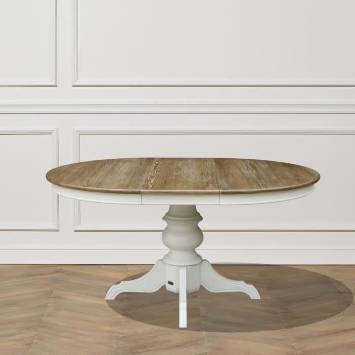 Table Ronde Extensible 6 A 8 Couverts Blanche Ariane 160 Shabby Blanc