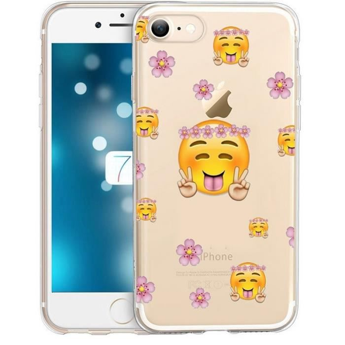 coque iphone 6 plus smiley peace and love fleur em