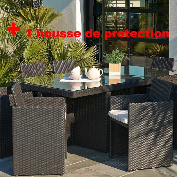 salon de jardin r sine tress e avec 8 fauteuils encastrables noir housse de protection achat. Black Bedroom Furniture Sets. Home Design Ideas