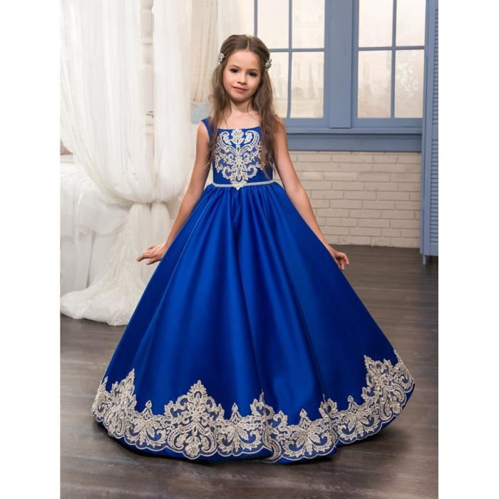Royal Blue Flower Girl Robes O-Ncek Appliques sans manches Ball Gown