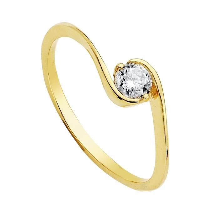 Bague solitaire Zirconia or jaune 18 carats 4 mm. [AB3698]