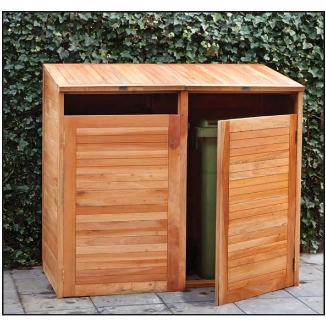 cache poubelles double en bois dur achat vente cache. Black Bedroom Furniture Sets. Home Design Ideas