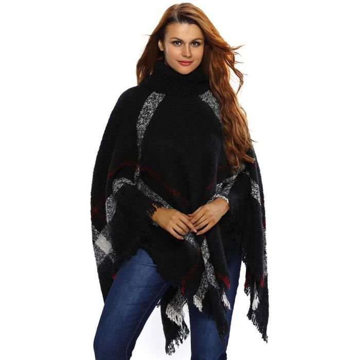100% authentifié nouvelle apparence bonne texture Poncho Cape Femme Col Roule Hiver à Franges Casual Pull Laine en Tricot