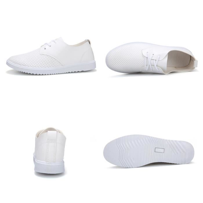 Chuassures Hommes Cuir Printemps Ete Casual Occasionnels Chaussures BZH-XZ084Blanc42 Rycmknr