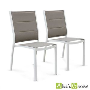 FAUTEUIL JARDIN  Lot de 2 chaises Chicago en aluminium blanc et tex