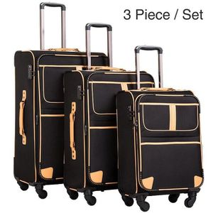 SET DE VALISES L03-Noir Ensemble de 3 valises Trolley PC Sac de v
