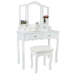 COIFFEUSE Coiffeuse table blanche de maquillage avec miroir