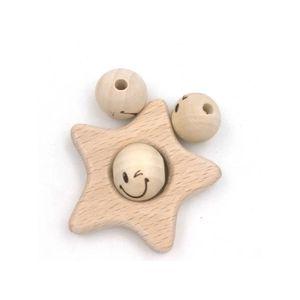 Perles Perles en bois naturel sourire visage 20mm