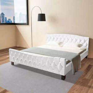 STRUCTURE DE LIT Cadre de lit Cuir artificiel 180 x 200 cm Blanc -