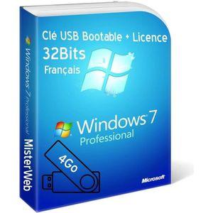 CLÉ USB Clé USB Bootable Windows 7 Pro 32 Bit + licence or