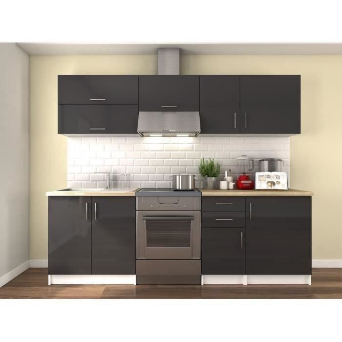 obi cuisine compl te l 2m40 gris laqu brillant achat vente cuisine compl te obi cuisine. Black Bedroom Furniture Sets. Home Design Ideas