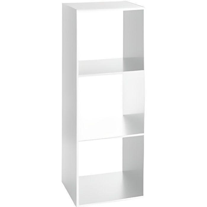 Etagère 3 cases - L 34,4 x P 32 x H 100,5 cm - Bois - Blanc
