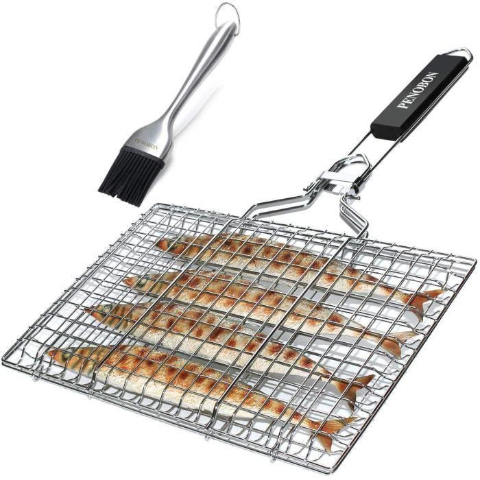 Penobon - panier grille pour barbecue, pliable en acier inoxydable, pour la cuisson des poissons, légumes ou crevettes, avec poignée
