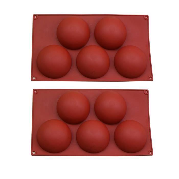 Keaiweni® Moule en silicone semi-sphérique extra-large à 5 cavités, 2 paquets de moule de cuisson pour faire du chocolat, des