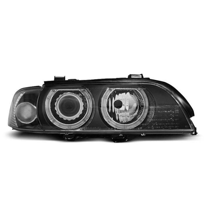 Paire de feux phares BMW serie 5 E39 95-00 xenon angel eyes noir (M07)