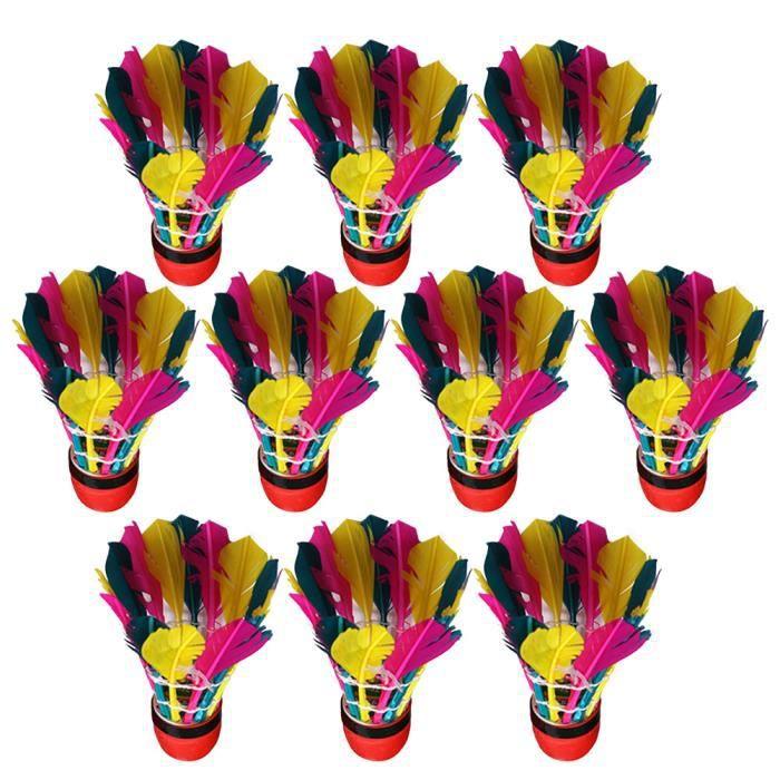11 pièces plume volant oie balle de badminton badmintons pour l'exercice en plein air exercice