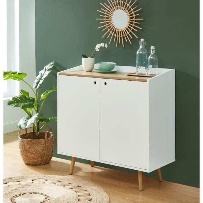 CALDERA Buffet 90cm, laqué blanc mat et plateau coloris bois