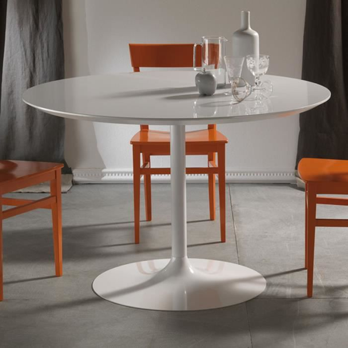 Table à manger ronde blanche design EMILIO 110 cm