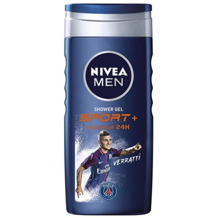 Nivea Men Shower Gel Sport+ Fraîcheur 24H 250ml (lot de 6)