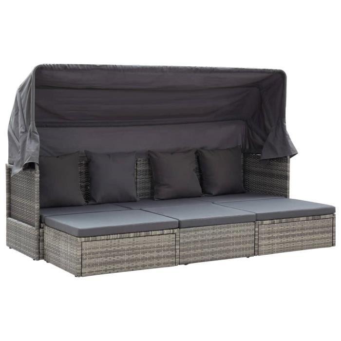 Lit de jardin - Salon de Jardin canapé-lit pour Jardin - et toit Gris mélangé 200x60x124 cm Résine tressée