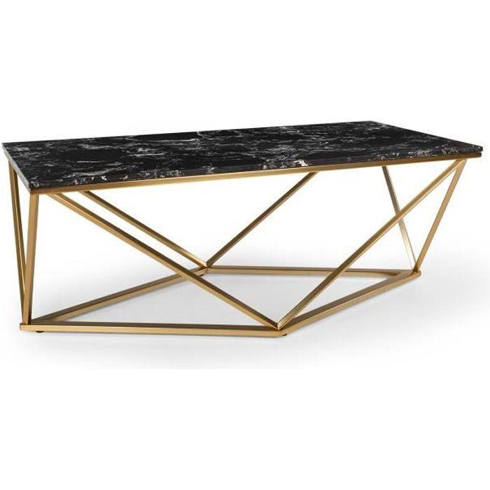 Besoa Black Onyx 1 Table basse de salon 110 x 42,5 x 55 cm (LxHxP) - Pieds réglables en hauteur -Design marbre doré & noir