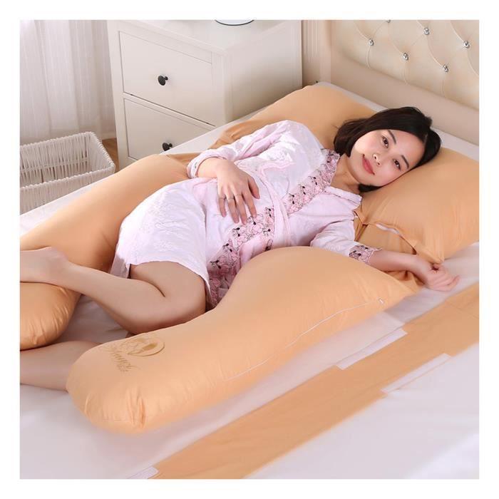 Oreiller de Maternité,Super Doux Maternité Soutien Oreiller,Soulage la Sciatique Jaune 145X82cm