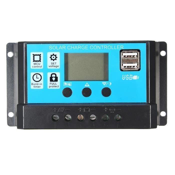 12V-24V S60 USB Double LCD Rétro-éclairé Contrôleur Solaire Tension Réglable Avec la fonction de mémoire 10A Aw24604