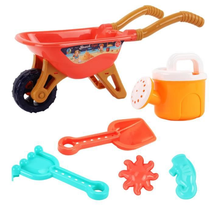 Jeu de sable pour garçons et filles,chariot à roulettes,eu de bac à sable,outils de plage,jouet d'extérieur d'été-Voiture orange