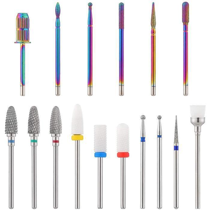 16 Pièces Forets à Ongles SetForets à Ongles CéramiqueAlliage Kit de Perceuse à Ongles électriqueProfessionnels Embout Ponceuse On