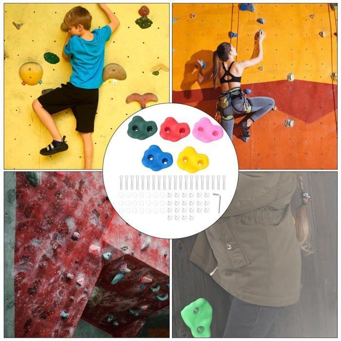 10 prises d'escalade sûres et fiables, prises d'escalade pour enfants, forme unique 4,1 x 3,6 pouces colorée pour les accessoires