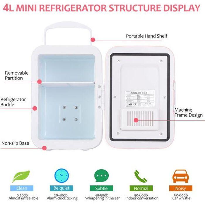YOSOO Mini réfrigérateur 12V à faible bruit Mini réfrigérateur 4 litres / 6 bidons refroidisseur électrique et système