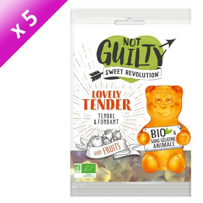 [LOT DE 5] NOT GUILTY Gélifiés Sachet de Lovely Tender saveur Fruits BIO - 100 g