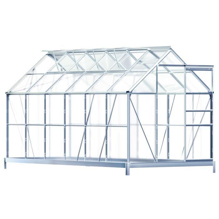 Serre de jardin ALU incl. 4 Fenêtres + Fondation