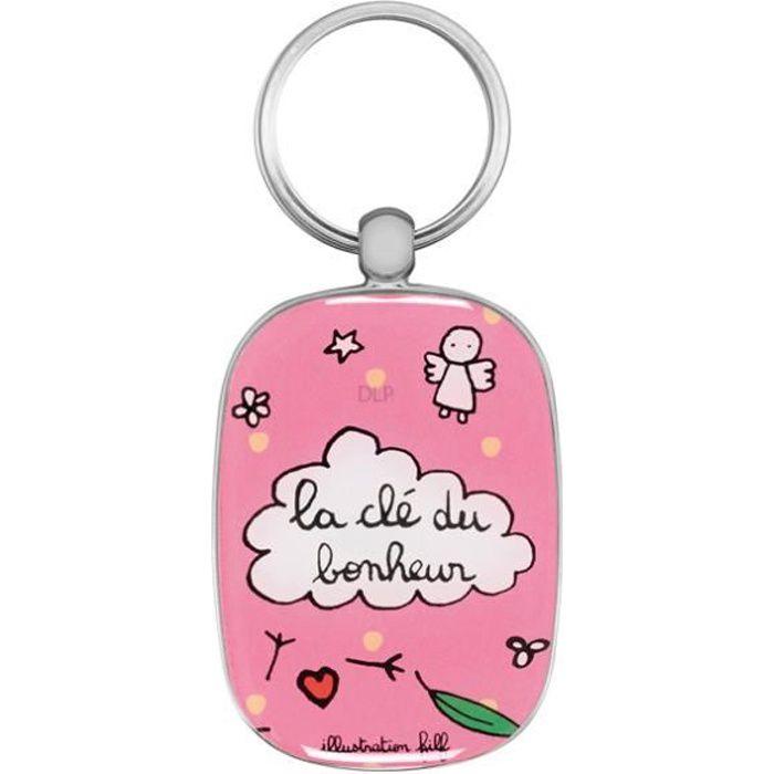 Porte-Clés Original LA CLÉ DU BONHEUR - Clefs de Voiture Maison Idée Cadeau pour Femme Couple - DLP Derrière La Porte