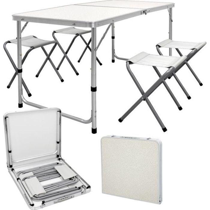 Set table + chaise tabouret pliable portable extérieur picnic camping aluminium