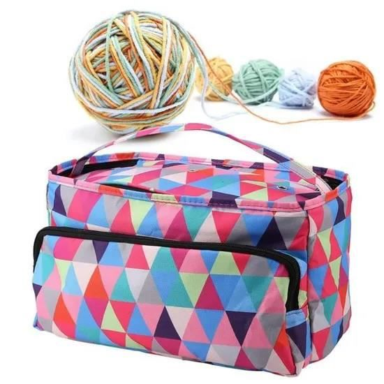 XINGIXJ ---Sac à tricoter pour sac de rangement pour sac à coudre en crochet (carré multicolore) -LAF