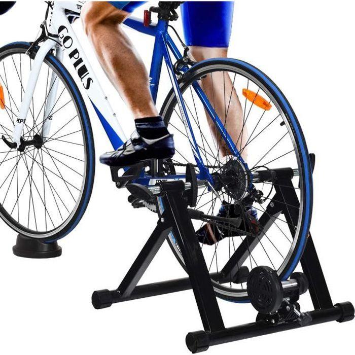 GOPLUS Home Trainer Vélo Pliable pour Roue 26-28'' 700C,VTT,Support d'entrainement,Vélo Route,Système à Double Verrouillage,sans Fil