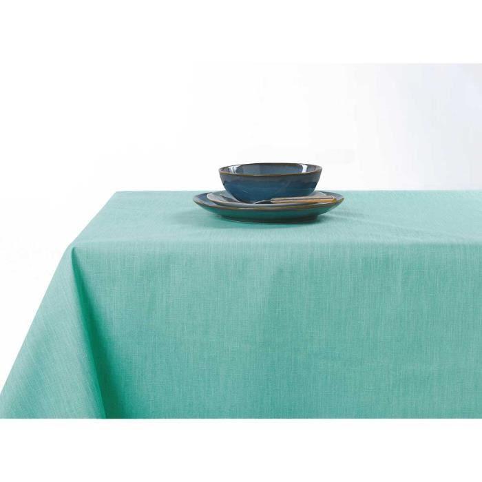 Nappe enduite anti taches aux couleurs acidulées Vert d'eau 150 x 200 cm