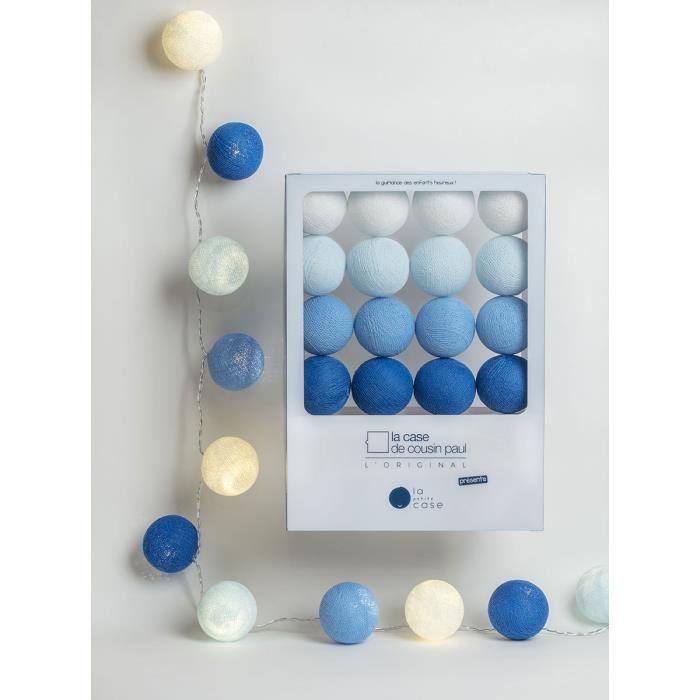 Guirlande Lumineuse La Petite Case Lucien LED - 16 Boules Ivoire,Blanc,Bleu Foncé,Jaune Clair,Celadon,Bleu Ciel