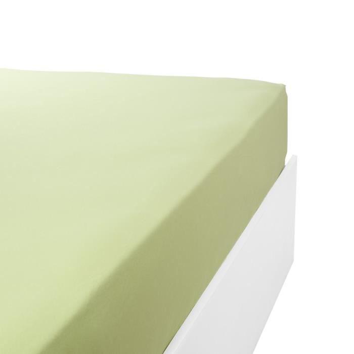 LINANDELLE - Drap housse coton 57 fils en molleton flanelle TOUDOUX - Vert anis - 90x190 cm
