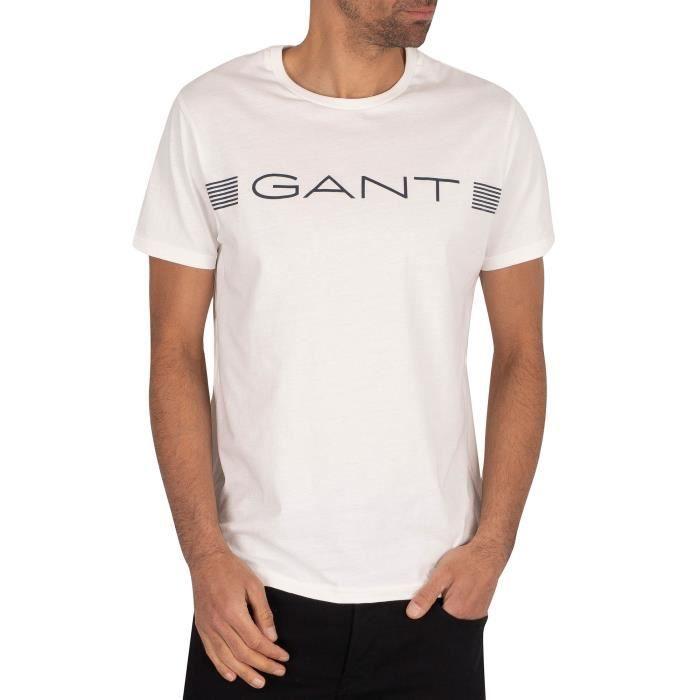 Gant Pour des hommes T-shirt à rayures, blanc