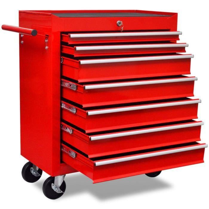 Chariot à outils d'atelier -Servante d'Atelier avec 7 tiroirs Rouge
