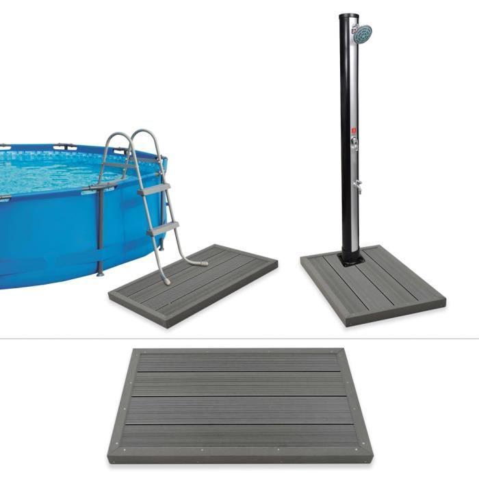 Élément de plancher pour douche solaire-échelle de piscine WPC