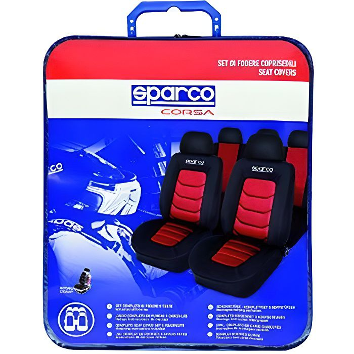 Sparco SP 90073 - AUTO/MOTO - HOUSSE SIEGE - Housse de Sièges aussi pour Side-Airbags, Noir/Rouge, 11 Pièces
